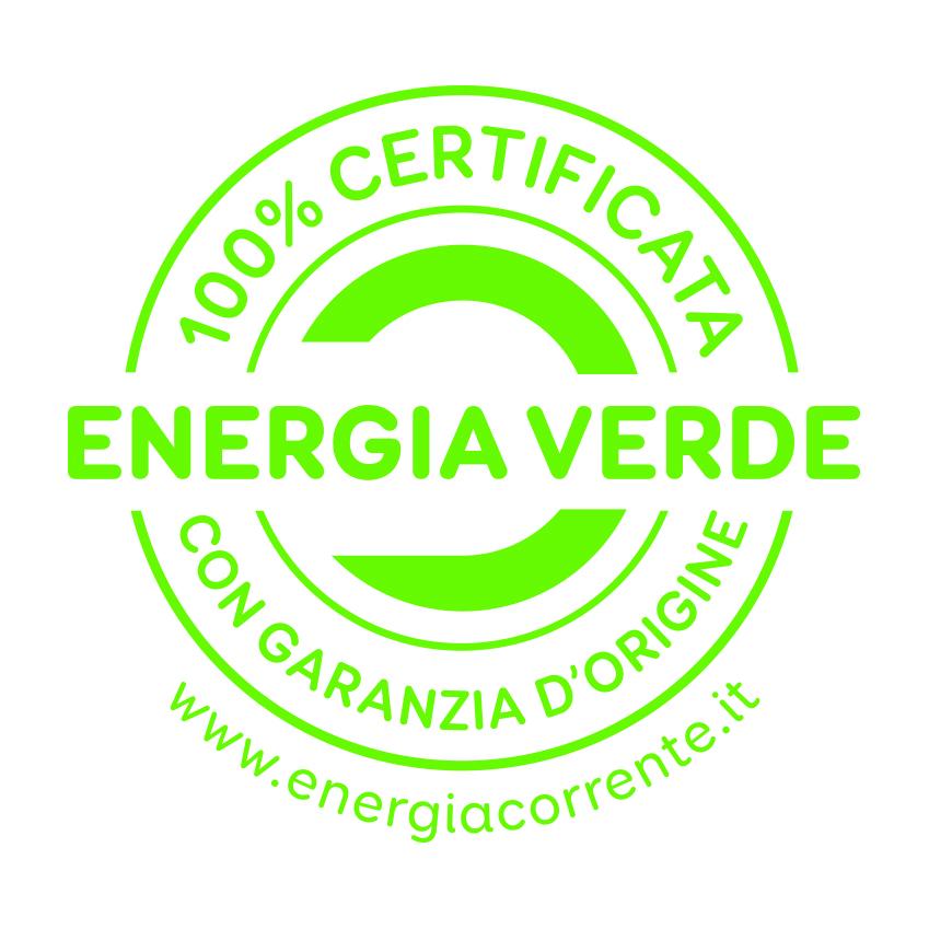 Energia Verde 100% Certificata con garanzia d'origine